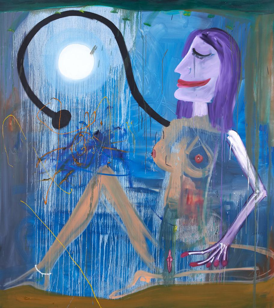 Akt umarmt Vollmond, 2014, oil/canvas, 160 x 140 cm