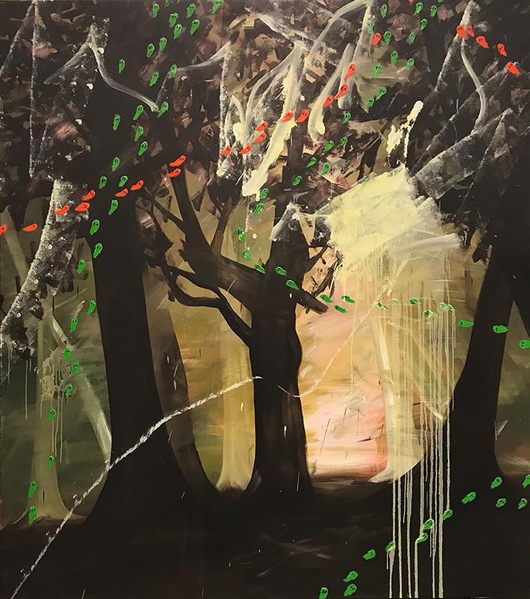 waldstueck_m_orangen_und_gruenen_orbs_kodritsch_2018_180_160cm_oil_canvas_web
